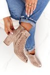 Openwork Leather Boots On A Post Exquisite 1184 Beige