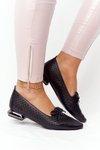 Openwork Loafers On Silver Heels Vinceza 21-10602 Black
