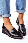 Patent Wedge Shoes Vinceza 10675 Black