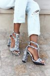 Sandals On A Block Heel Black With A Snake Pattern Folly