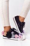 Sneakers With Flowers Lu Boo Black