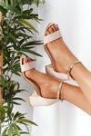 Suede High Heel Sandals Beige Janet