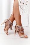 Suede High Heel Sandals With Fringes Beige Boho Swing