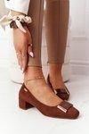 Suede Pumps On A Block Heel Sergio Leone PB142 Brown