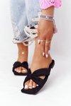 Women's Suede Slippers Black Vanilla Sky